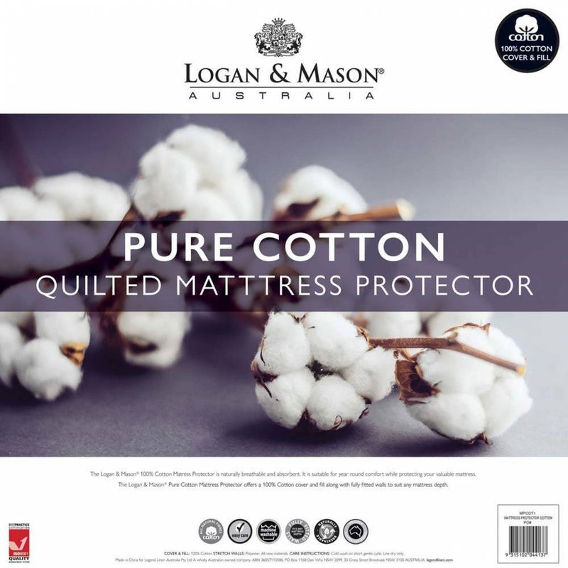 Logan & Mason Pure Cotton Quilted Mattress Protector