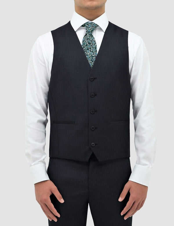 Boston Classic Fit Ryan Vest (Pin Dots, Navy)