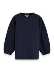 Scotch & Soda Girls Broidery Anglaise Volume Sleeve Top