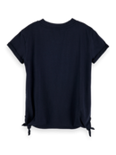 Scotch & Soda Girls Short Sleeve Loose Fit Side Knot Tee