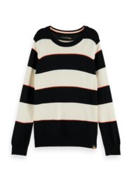 Scotch & Soda Boys Light-Wight Contrast Detailed Crewneck Knit Pullover