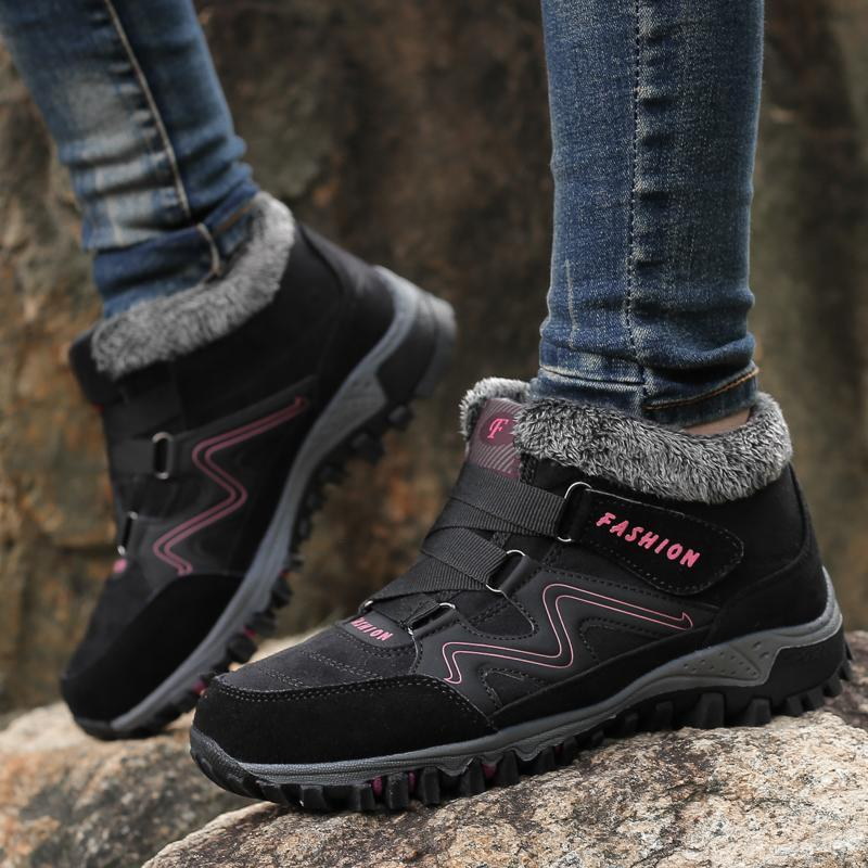 Women Comfy Warm Suede Hook Loop Booties Ankle Hiking Boots