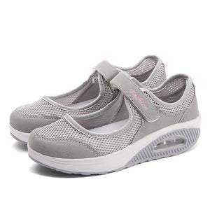 Women's fashion flying woven breathable mother casual shoes