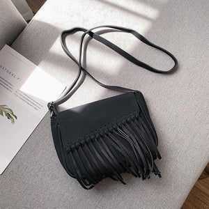 Women's frosted tassel shoulder Messenger bag fashion pop ladies small bag shoulder bag