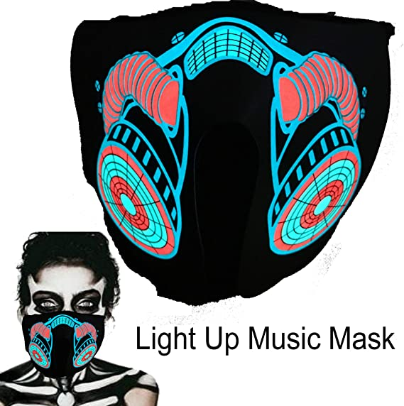 Sound Activated Light Up Mask Led Music Party Mask