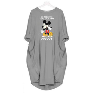Women's Mickey Heart Print Pocket Casual Dress - Foary