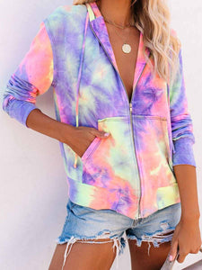 Pizzazz Pocketed Tie Dye Zip Up Hoodie
