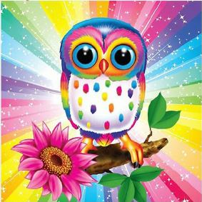 COLORFUL OWL 5D DIY FULL DRILL ROUND DIAMOND PAINTING