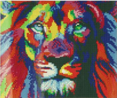 5D DIY FULL DRILL DIAMOND PAINTING COLORFUL LION