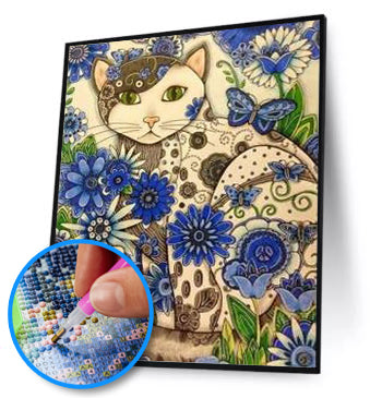 Full Drill Cat Blue Design ( HIGH QUALITY DIAMOND PAINTING KIT)