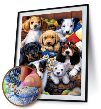 5D DIY Diamond Painting Colorful Cute Dogs Partial Drill / Diamond Painting MNL