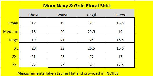 Navy Gold Floral Mom Shirt Size Chart