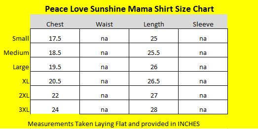 Peach Love Sunshine Mom Shirt Size Chart