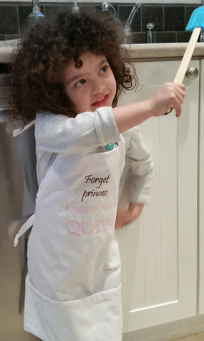 Forget Princess I want to be Queen Kid Apron