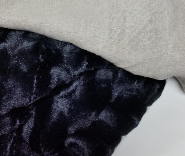 Lavish Linen Fur Throw Natural/Black
