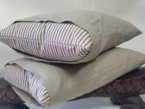 Linen & Cotton Ticking Bed Pillow