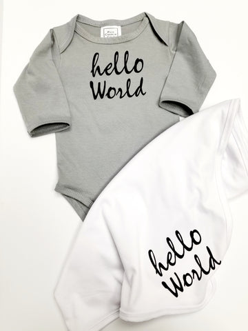 Hello World Long Sleeve One Piece + Swaddle Blanket Set