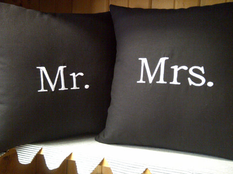 Mr. and Mrs. Linen Pillow