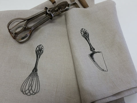 Antique Utensil Linen Tea Towel