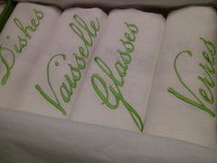 White Linen Tea Towel Set of 4  with Lime Green Embroidery