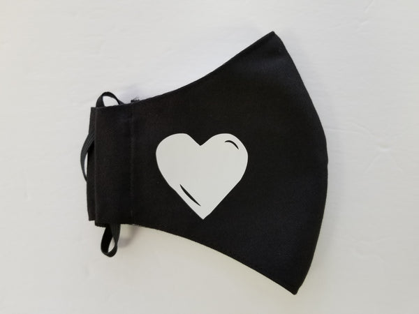 Face Mask Black with Heart