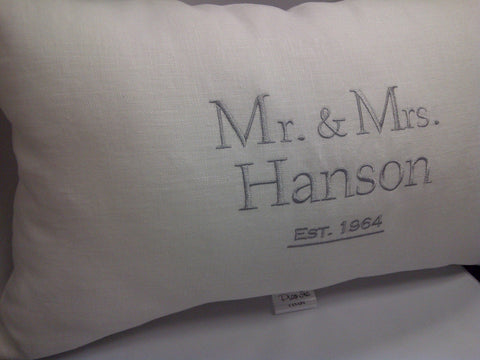 Established White Linen Pillow Formal Style