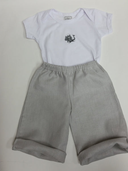 Elephant Baby One Piece and Linen Barcelona Pants