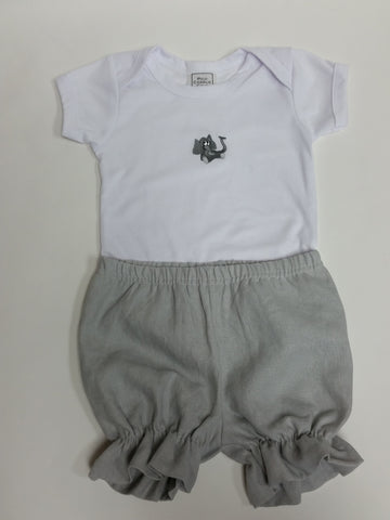 Elephant Baby One Piece and Linen Bloomers