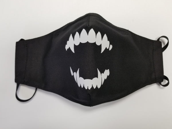 Face Mask Black with Vampire Teeth