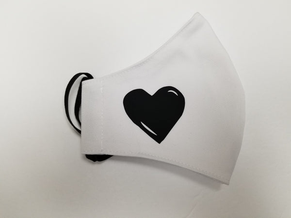 Face Mask White with Heart