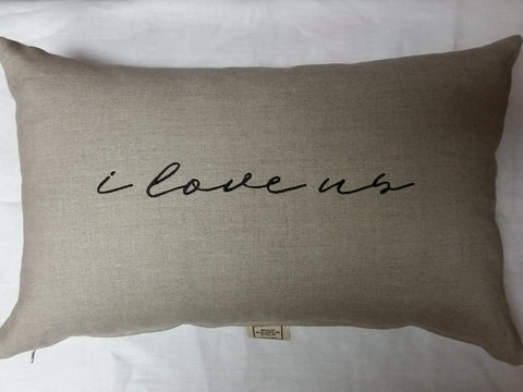 i love us Linen Pillow