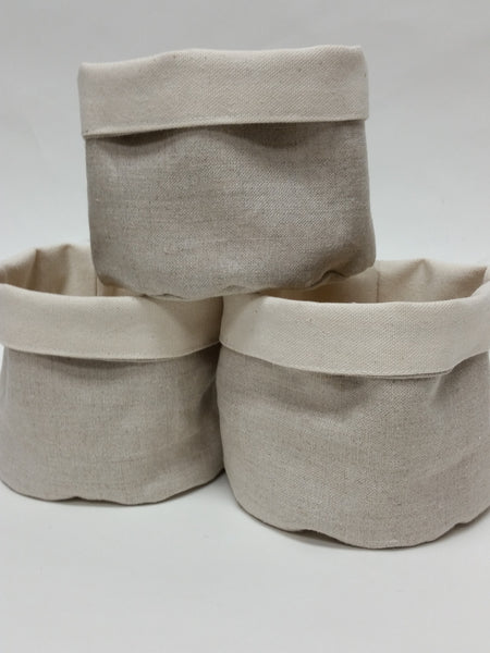 Natural Linen Mini Bin Set/3