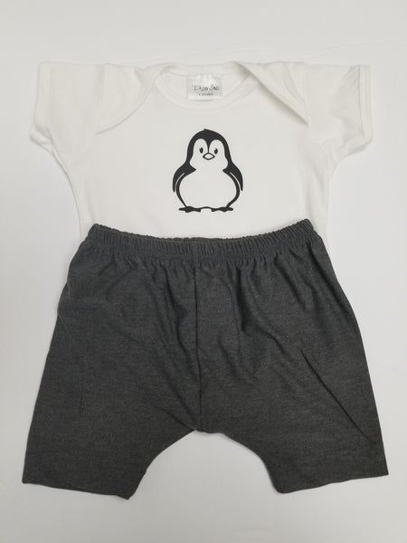 Penguin Baby One Piece and Bamboo Shorts Set