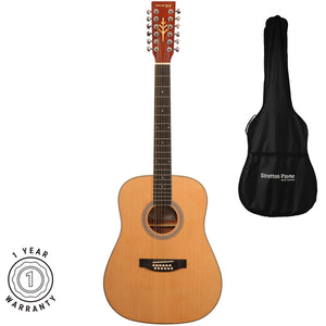 Stretton Payne Dreadnought 12 String Acoustic Guitar Spruce and Mahogany with 3mm Padded Gig Bag