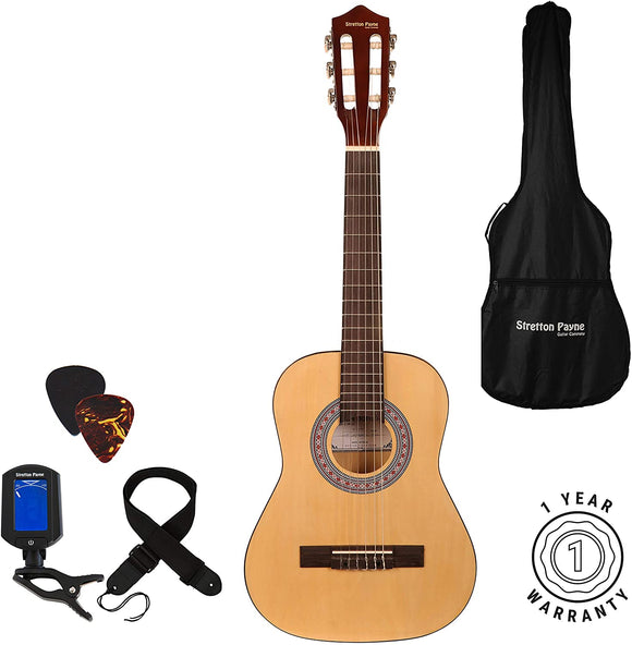 Left Hand Acoustic Guitar Package 1/2 Sized (36' inch) Classical Nylon String Childs Guitar Pack Natural