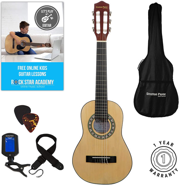 LEFT HAND Acoustic Guitar Package 1/4 Sized (31' inch) Age 3 to 6 Classical Nylon String Childs Guitar Pack Natural