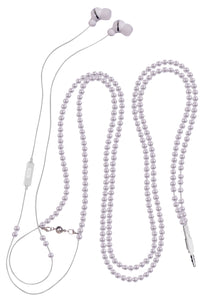 Headphones Pearl Style Necklace Earphones with Microphone White