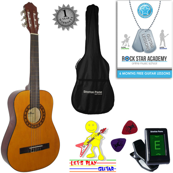 CLEARANCE - Graded AB Acoustic Guitar Package 1/2 Sized (34' inch) Classical Nylon String Childs Guitar Pack Garcia Special Natural