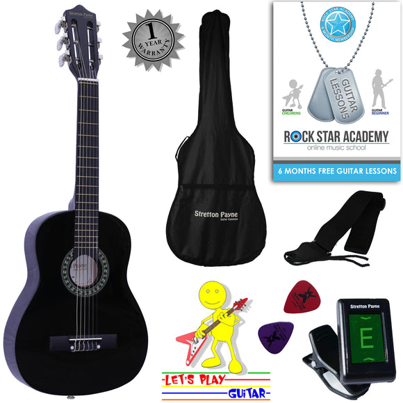 CLEARANCE - Graded AB Acoustic Guitar Package 1/4 Sized (31' inch) Classical Nylon String Childs Guitar Pack Black