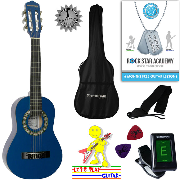 CLEARANCE - Graded AB Acoustic Guitar Package 1/4 Sized (31' inch) Classical Nylon String Childs Guitar Pack Blue