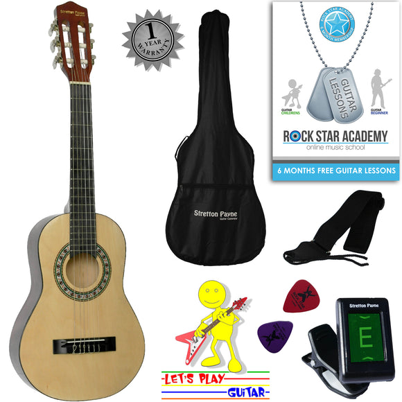 CLEARANCE - Graded AB Acoustic Guitar Package 1/4 Sized (31' inch) Classical Nylon String Childs Guitar Pack Natural