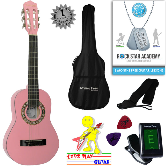 CLEARANCE - Graded AB Acoustic Guitar Package 1/4 Sized (31' inch) Classical Nylon String Childs Guitar Pack Pink