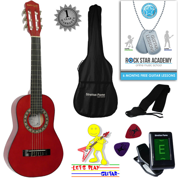 CLEARANCE - Graded AB Acoustic Guitar Package 1/4 Sized (31' inch) Classical Nylon String Childs Guitar Pack Red