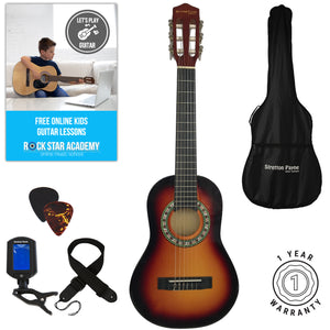 Acoustic Guitar Package 1/4 Sized (31' inch) Classical Nylon String Childs Guitar Pack Sunburst