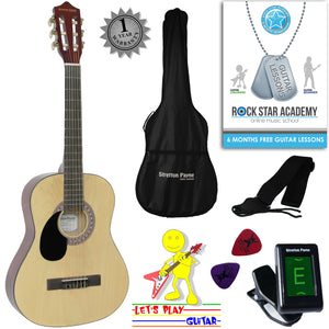 CLEARANCE - Graded B Left Hand Acoustic Guitar Package 3/4 Sized (36' inch) Classical Nylon String Childs Guitar Pack Natural