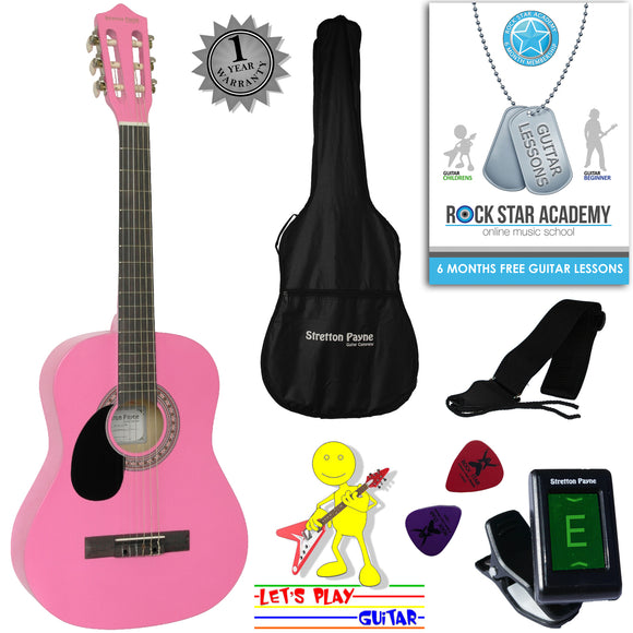 CLEARANCE - Graded B Left Hand Acoustic Guitar Package 3/4 Sized (36' inch) Classical Nylon String Childs Guitar Pack Pink
