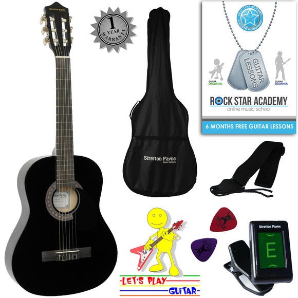CLEARANCE - Graded AB Acoustic Guitar Package 3/4 Sized (36' inch) Classical Nylon String Childs Guitar Pack (Age 7 to 11) Black