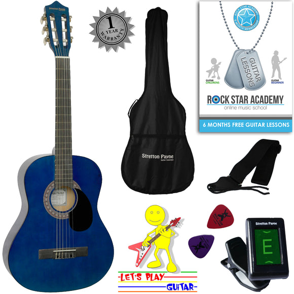 CLEARANCE - Graded AB Acoustic Guitar Package 3/4 Sized (36' inch) Classical Nylon String Childs Guitar Pack (Age 7 to 11) Blue