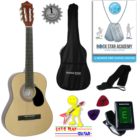 CLEARANCE - Graded C Acoustic Guitar Package 3/4 Sized (36' inch) Classical Nylon String Childs Guitar Pack (Age 7 to 11) Natural
