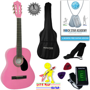 CLEARANCE - Graded AB Acoustic Guitar Package 3/4 Sized (36' inch) Classical Nylon String Childs Guitar Pack (Age 7 to 11) Pink